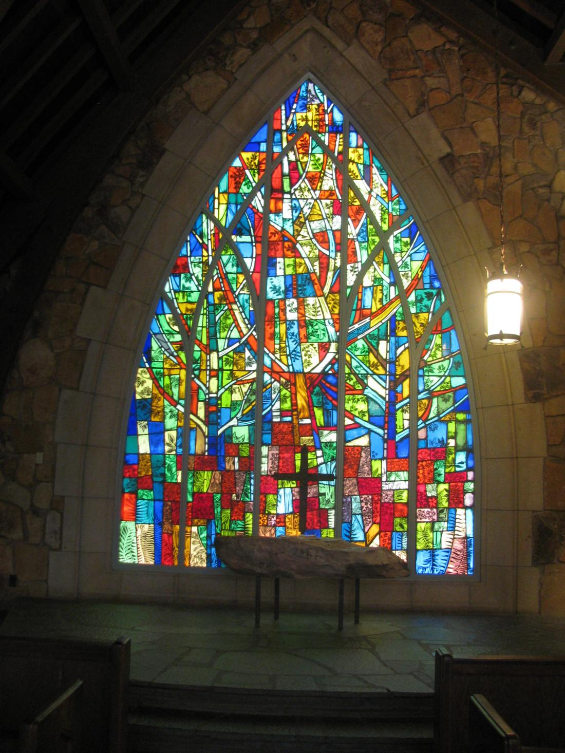 Stained glass image from the opposite end of the chapel.