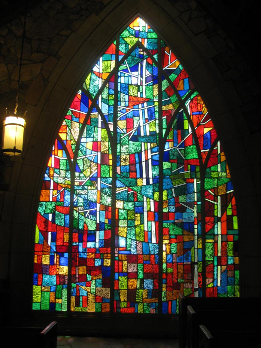 Stained glass image from inside the chapel.