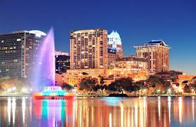 Orlando by night. Lake Eola.