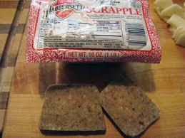 Scrapple, also known by the Pennsylvania Dutch name pon haus, is traditionally a mush of pork scraps and trimmings combined with cornmeal and wheat flour, often buckwheat flour, and spices...a gelatinous gray meat