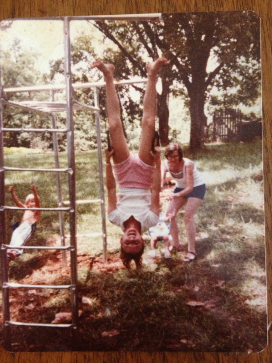 Me upside down on hand rings when I was actually young and nimble enough to perform such a stunt.