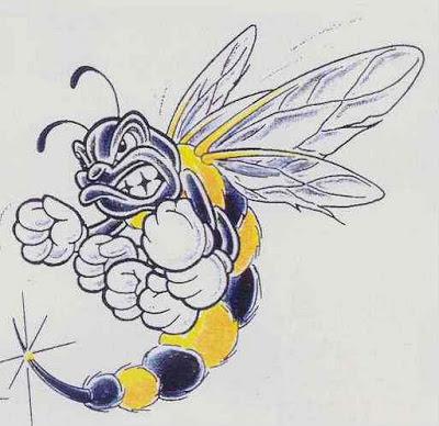 Angry bee tattoo