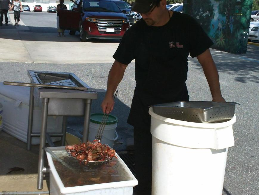 Get there early enough and you might be treated to a crawfish boil