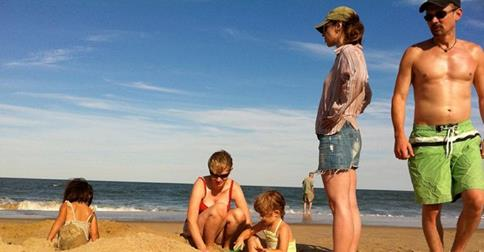 Families enjoy fun in the sun.