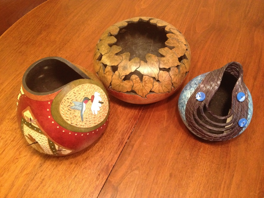 Handcrafted painted, sculptured gourds.